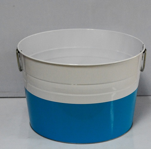 large colored metal buckets