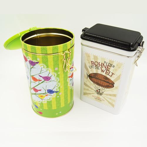 round tea and coffee tin box