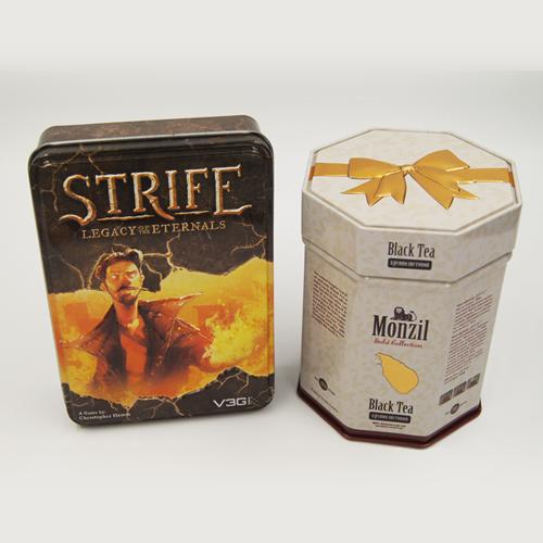 Tea tin box - emboss rectangle tin box