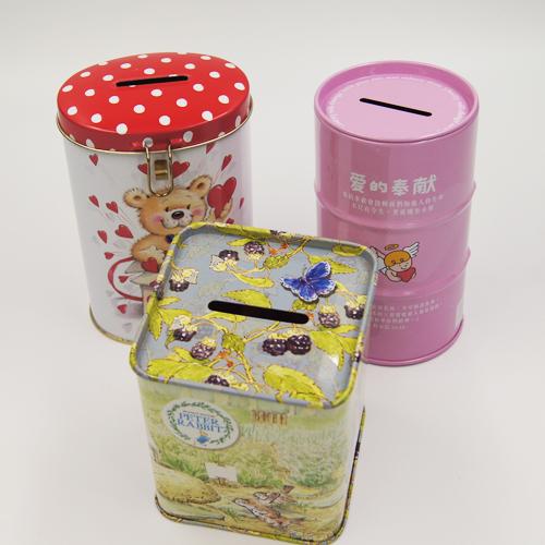 coin boxes - small round coin tin box