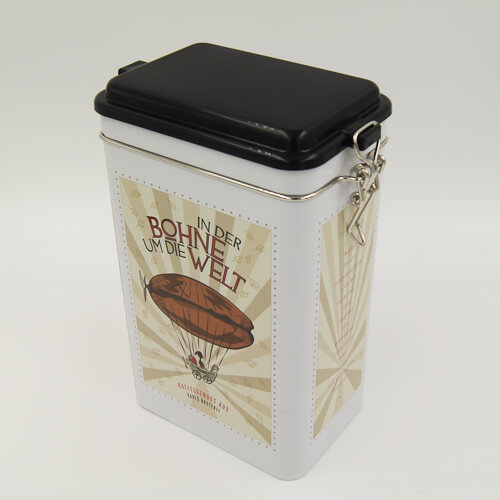 rectangle tea and coffee tin box