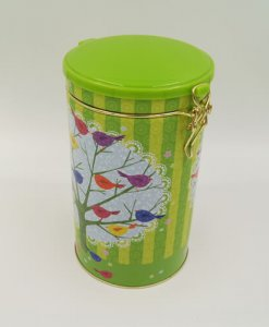 round tea and coffee tin box