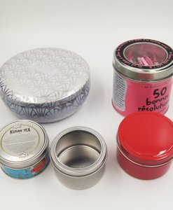 small round candle tin box