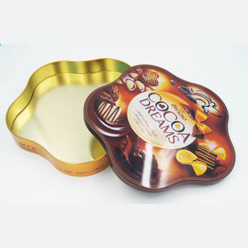 Flower shape chocolate tins packaging