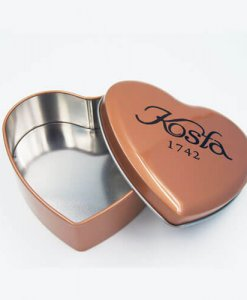 Chocolate tin box with heart shape