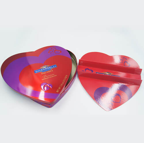 heart shape chocolate tin box