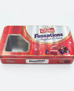 rectangle chocolate tin box with window