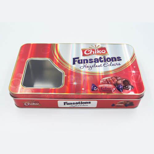 rectangle chocolate tin box with window