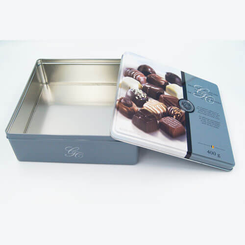 Square chocolate tin packaging