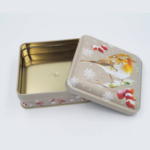 square small chocolate tin packaging