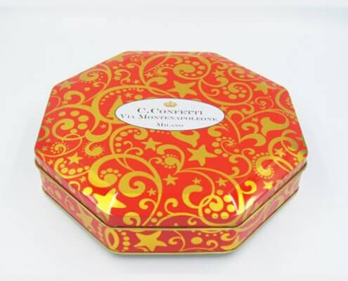 Octagon chocolate tins packaging3 495x400 - Octagon Large Metal Food Storage Containers For Packaging