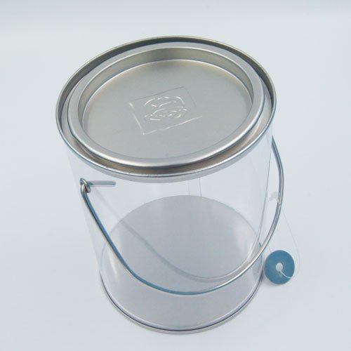 PET bucket with handle3 - Custom White Tin Bucket With Handle and Lid for Pet Food