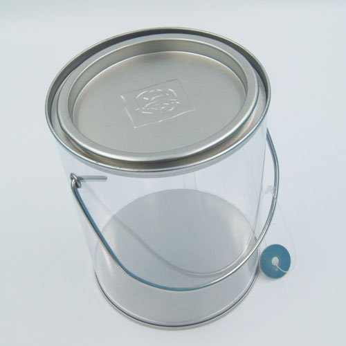 PET bucket with handle4 - Custom White Tin Bucket With Handle and Lid for Pet Food