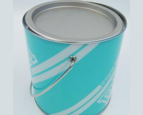 Персонализирани цветни метални кофи с дръжки и капак за съхранение