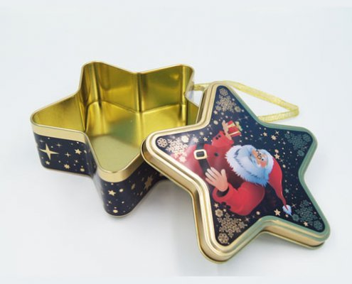 Star shape chocolate tin boxes1 495x400 - Custom Design Star Shaped Box for Chocolate Packaging