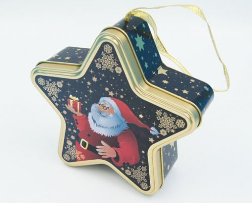 Star shape chocolate tin boxes2 495x400 - Custom Design Star Shaped Box for Chocolate Packaging
