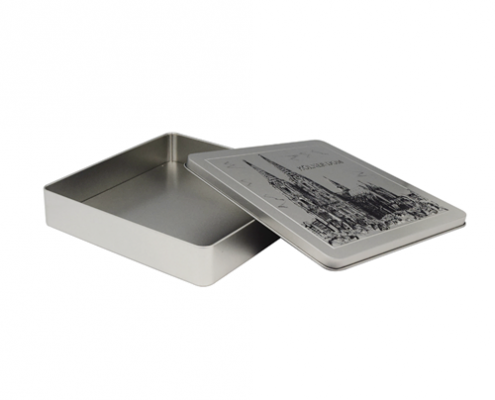 Square Box et stannum metallum hinged lid Dulce Et Packaging