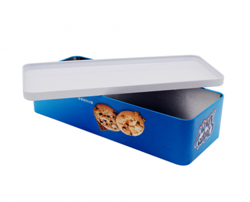 Metal Rectangular Christmas Cookies Tin Box For Packaging