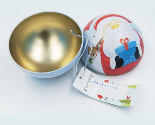 big ball shape chocolate tin box1 495x400 - Custom Ball Shaped Box With Lid for Chocolate Packaging