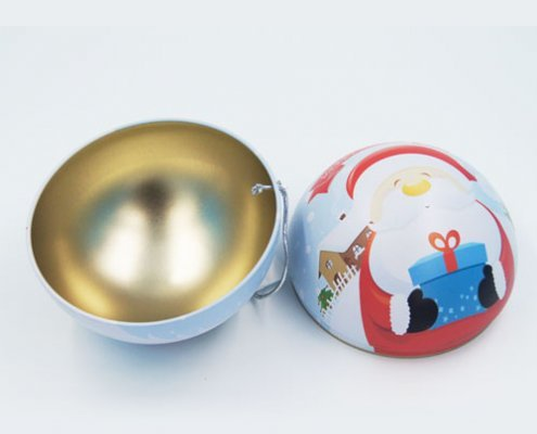 big ball shape chocolate tin box2 495x400 - Custom Ball Shaped Box With Lid for Chocolate Packaging