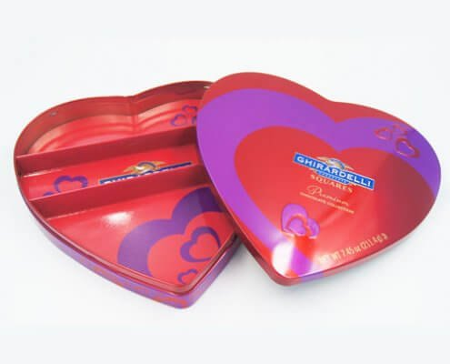 Custom Design Small Heart Shaped Tin Box for Candy Packaging