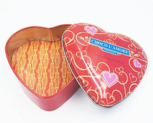 Custom Small Heart Shaped Tins With Lid For Candy Packaging