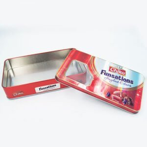 rectangle chocolate tin box with window1 300x300 - Custom Design Printed Tin Containers With Clear Lid for Candy