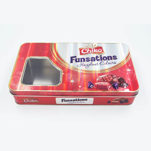 rectangle chocolate tin box with window2 - Custom Design Printed Tin Containers With Clear Lid for Candy