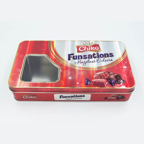 rectangle chocolate tin box with window3 - Custom Design Printed Tin Containers With Clear Lid for Candy