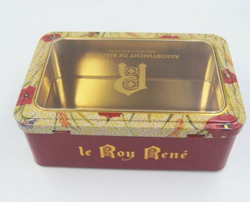 rectangle tin box with window1 495x400 - Rectangular Metal Tins With Clear Lids For Cosmetic Storage