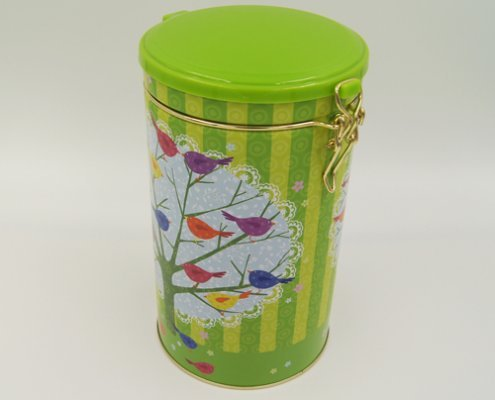 Round Tin Food Storage Containers With Plastic Lid and Lock