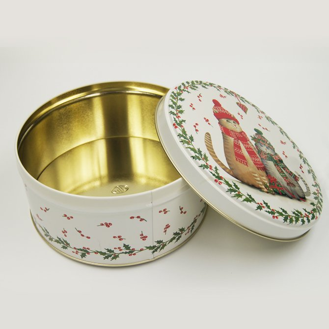 round tin box printing chrismas tree - Round Small Metal Storage Containers With lids For Packaging