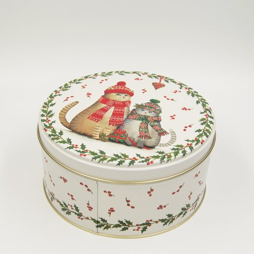 round tin box printing chrismas tree2 - Round Small Metal Storage Containers With lids For Packaging