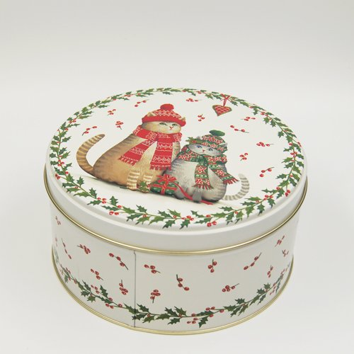 round tin box printing chrismas tree3 - Round Small Metal Storage Containers With lids For Packaging