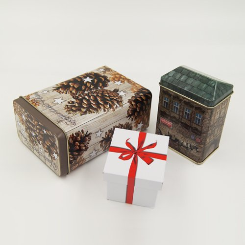 small gift box set - Small Square Metal Tin Containers With Lid For Gift Packaging