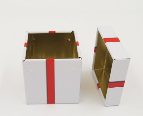 Small Square Metal Tin Containers With Lid For Gift Packaging