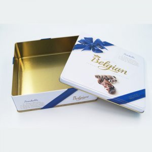 square chocolate tin packaging3 300x300 - Square Metal Tin Containers For Food and Candies Packaging