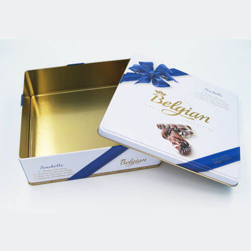 square chocolate tin packaging3 - Food Packaging Tins