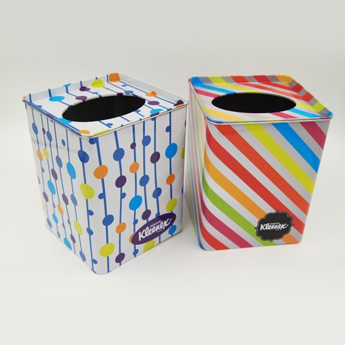 tissue tin box 1 - Metal Tin Containers With Clear Lids and Hole for packaging