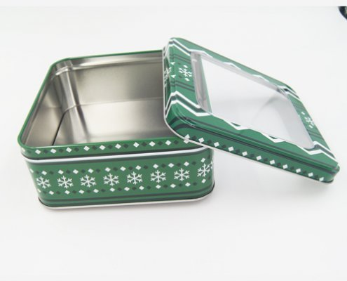 Square Metal Tin Box With Clear Lid and Window for Packaging