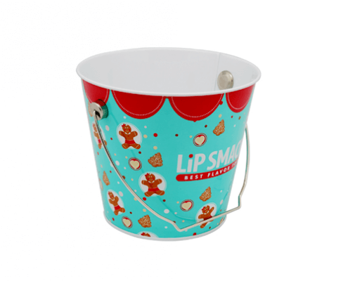 Custom Round Metal Tin Bucket For Chrismas Gifts Packaging